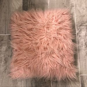 Small Pink faux throw pillow